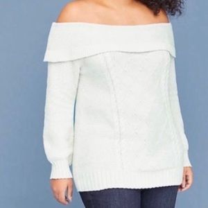 Lane Bryant cable knit off shoulder sweater